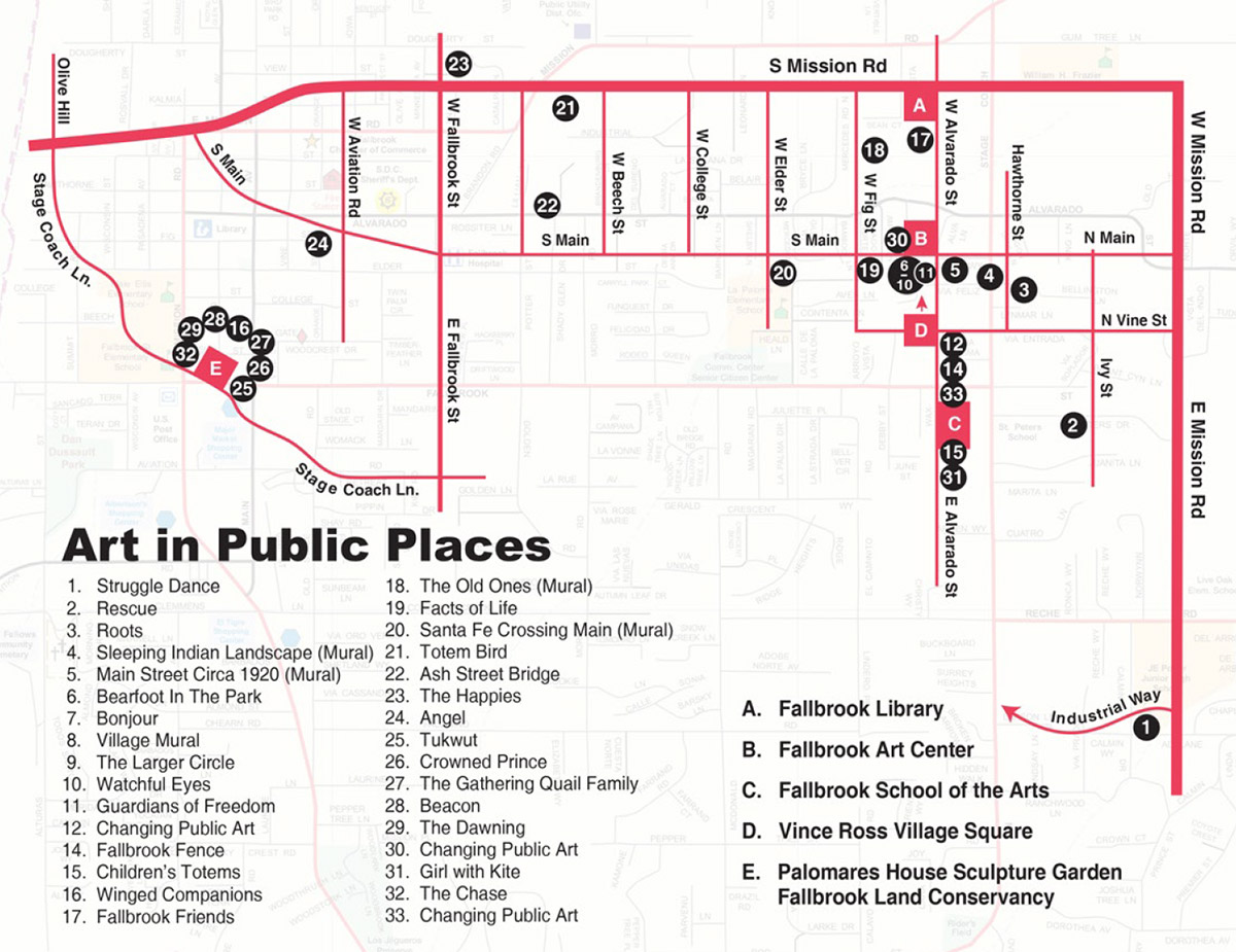Street map with locations of art exhibits